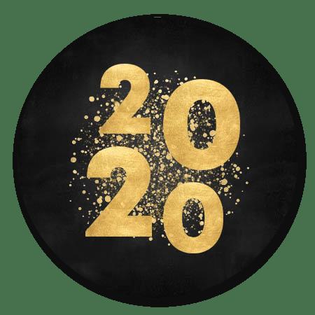 2020 goud, spetters zwart