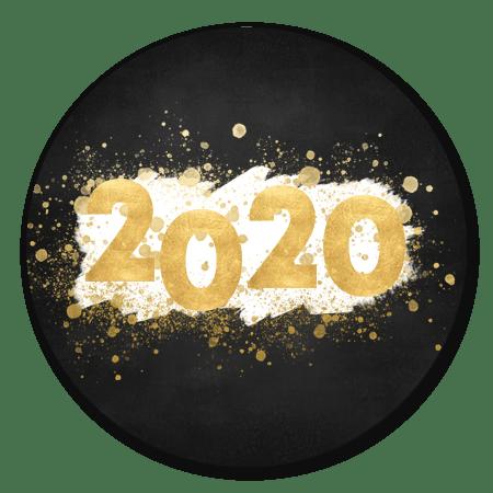 Gouden 2020 met witte verf en spetters