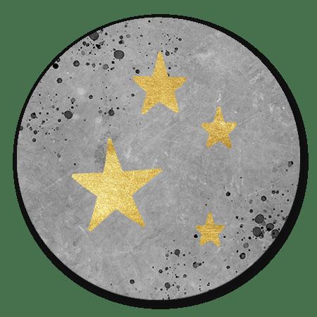 Beton met gouden sterren