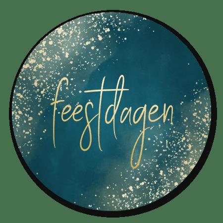 Kerst - Donkerblauw, gouden spetters en 'feestdagen'