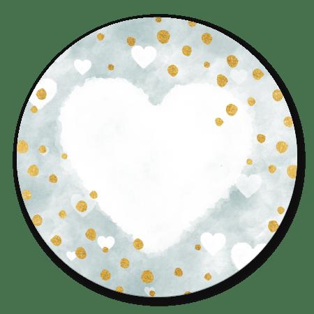 Geboorte Waterverf blauw met hart en gouden spetters