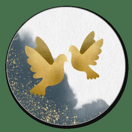 Blauwe waterverf met gouden duifjes