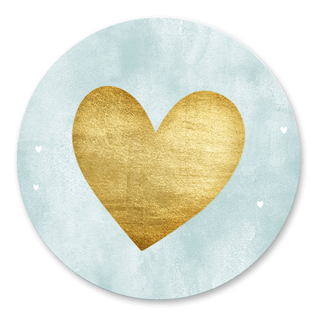 Blauwe waterverf met gouden hart