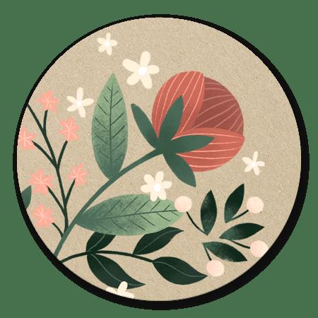 Botanisch - bloemen, takjes en kraft