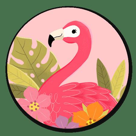 Flamingo met plantjes