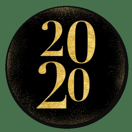Gouden 2020 met sneeuw en zwart