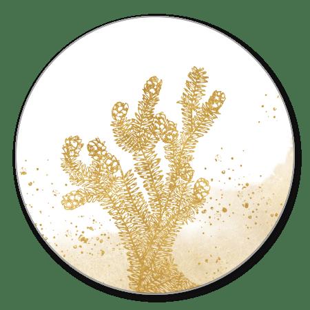 Gouden dennentak met waterverf en spetters