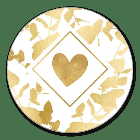 Gouden eucalyptus met hartje en kader