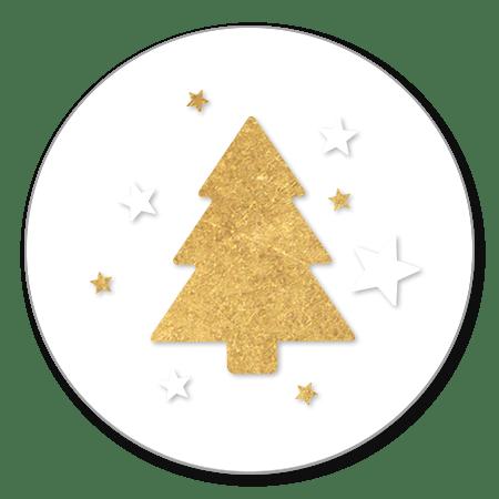 Gouden kerstboom en sterren