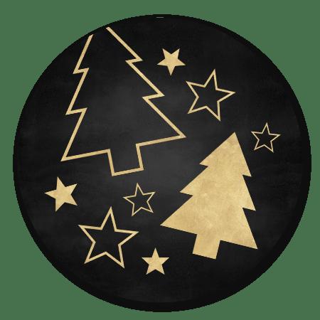 Gouden kerstbomen en sterren