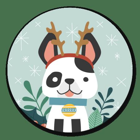 Kersthondje met gewei