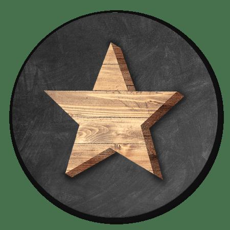Houten ster met krijtbord