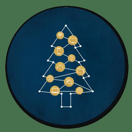 Kerst - Donkerblauw ICT boom met iconen