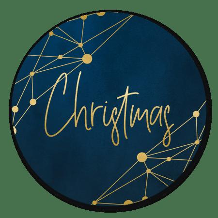 Kerst - ICT donkerblauw gouden netwerk merry christmas