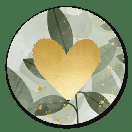 Groene plantjes met gouden hartje