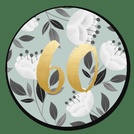 Witte bloemen met gouden 60
