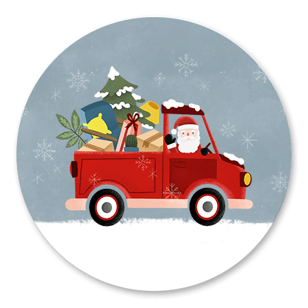 Kerstman in pick up truck