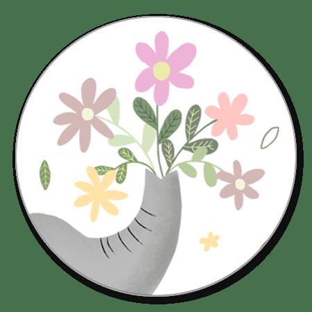 Olifantje met bloemen