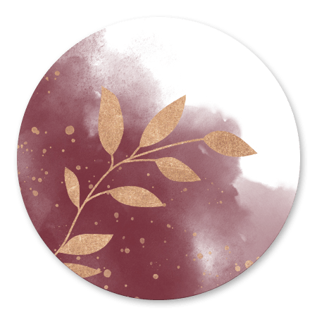 Trouwen rode waterverf met koperkleurig plantje