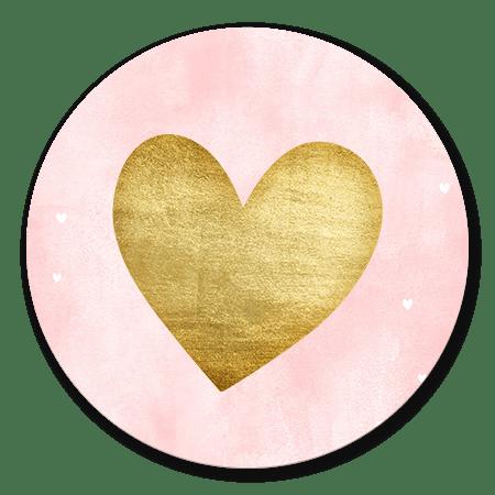 Roze waterverf met gouden hart