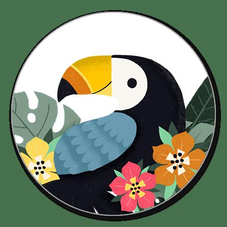 Toekan met bloemen en blaadjes