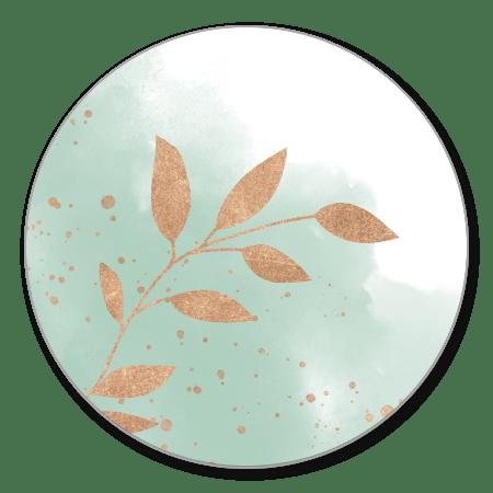 Mint waterverf met koper takjes