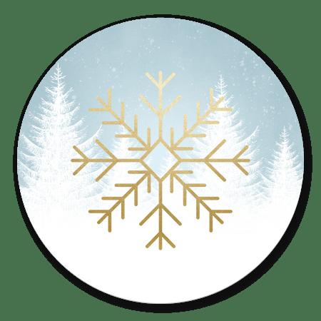 Gouden sneeuwvlok met witte boompjes