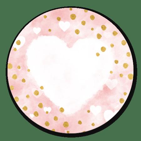 Roze waterverf hartjes en gouden stipjes