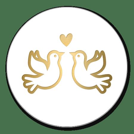 2 gouden duifjes met hartje