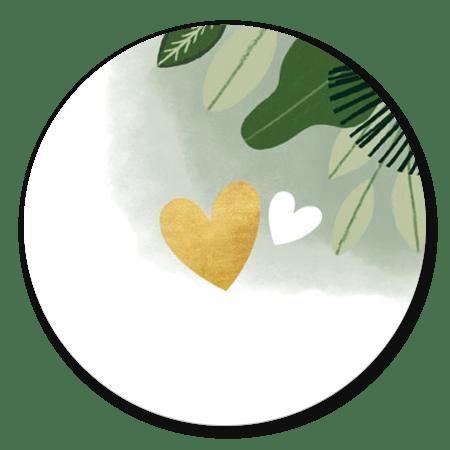 Jungle bladeren en gouden hart