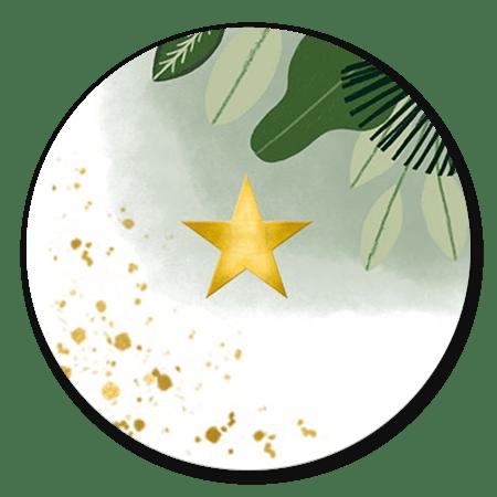 Jungle bladeren met gouden ster