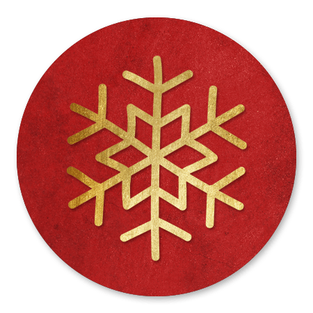 Sneeuwkristal goud met rood