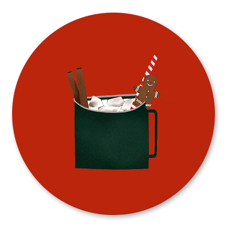 Kerstmok rode achtergrond