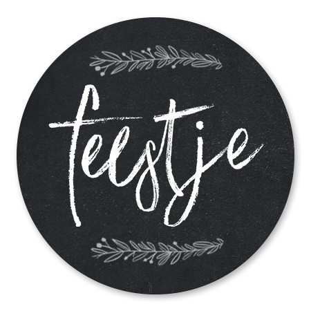 Krijtbord met Feestje en takjes