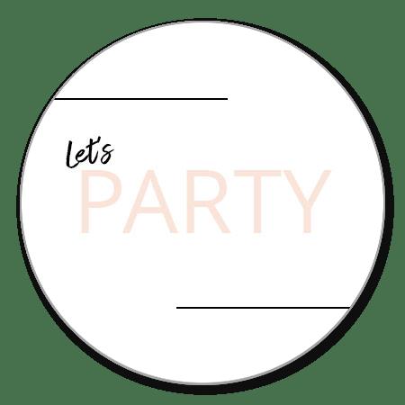 Let's party roze letter op wit