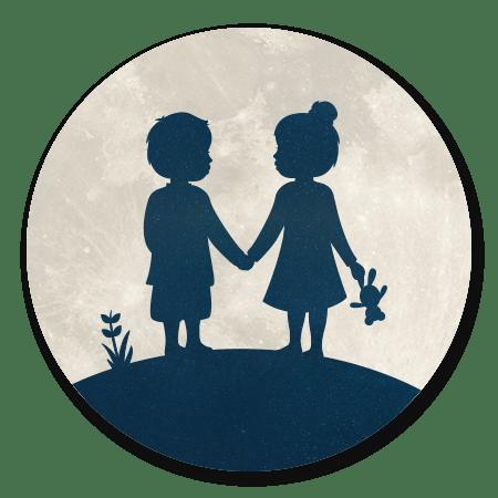 55f29c774ad60a Geboortekaartje maan- silhouet jongen en meisje | Kaartje2go