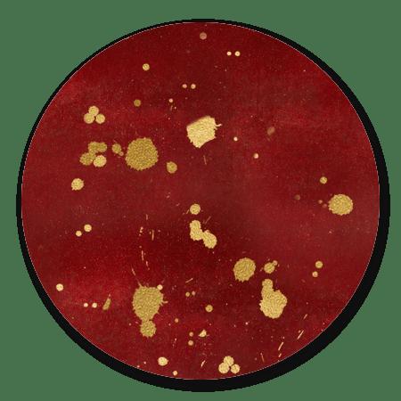 Rood met gouden spetters