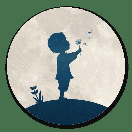 Silhouet Maan - Jongen paardebloem