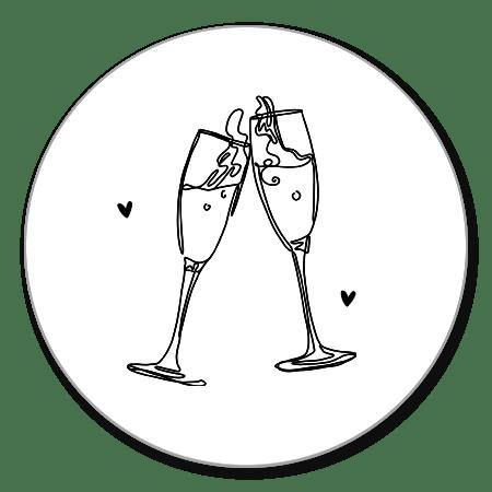 Sluitzegel champagne lijntekening