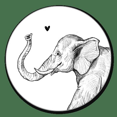 Sluitzegel olifant getekend