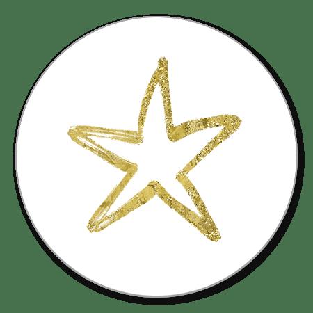 Sluitzegel ster goud glitter