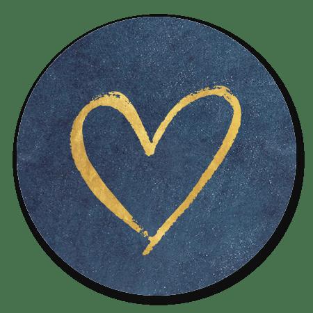 Blauw met gouden hartje