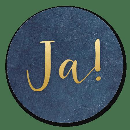 Blauw met gouden Ja