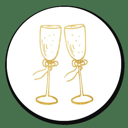 Champagneglazen goud