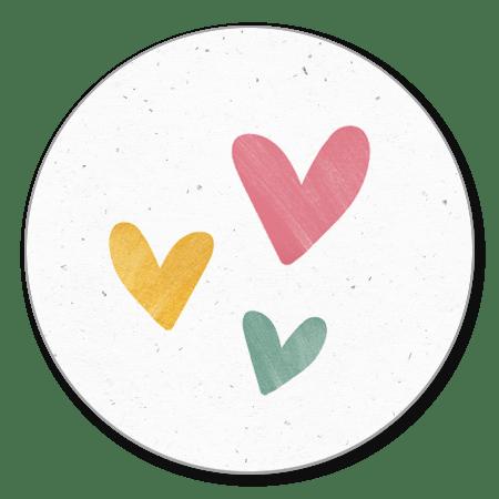 Sluitzegel hartjes roze/geel/groen