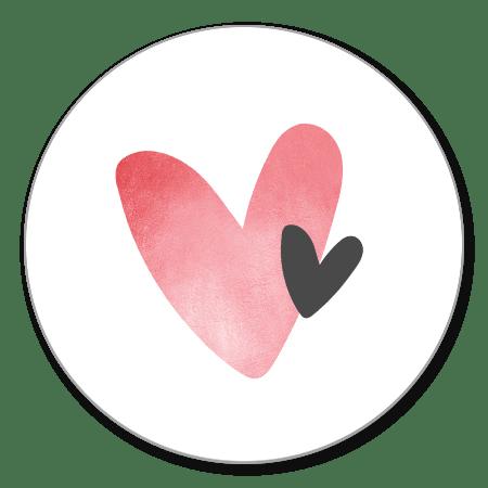 Sluitzegel hartjes roze/zwart