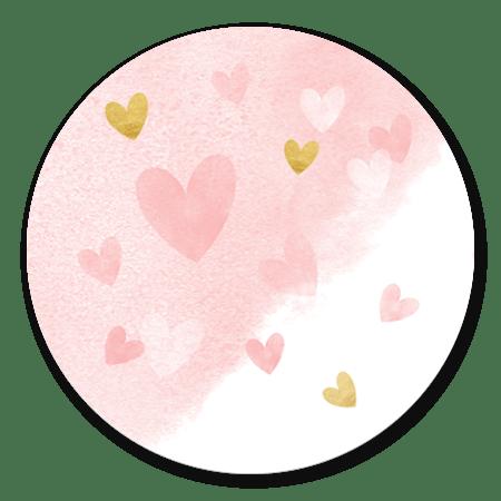 Dwarrelhartjes waterverf - roze goud
