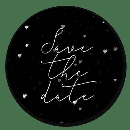 Save the Date hartjes op zwart