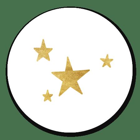 Sterretjes klein - goud op wit