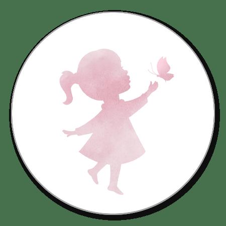 Meisje met vlinder waterverf
